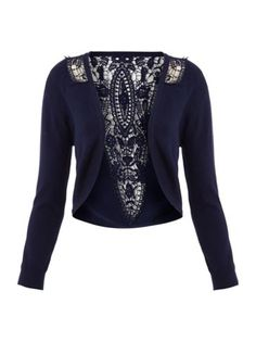 Untold Lace trim cardigan Navy - House of Fraser