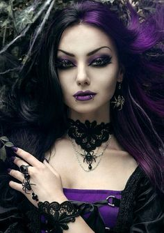 Black and purple goth style.