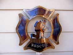 Fire and Rescue-Kneeling Fire Fighter - Firefighter Wall Decor