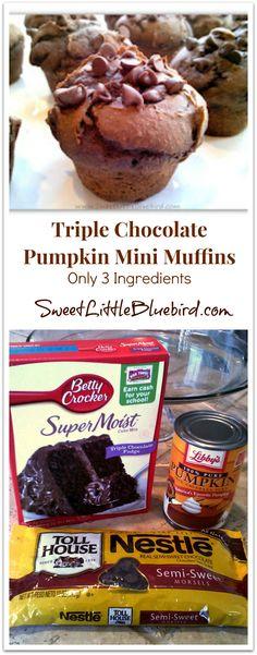 Triple Chocolate Pumpkin Mini Muffins - Only 3 ingredients! Super moist & delicious!    SweetLittleBluebird.com