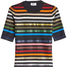 Sonia Rykiel Metallic Striped Pullover (31,045 PHP) ❤ liked on Polyvore featuring tops, sweaters, multicolored, embroidered top, multi colored striped sweater, striped sweater, short sleeve pullover and multi colored sweater