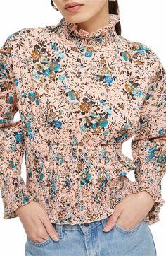 Main Image - Topshop Floral Print Smock Blouse
