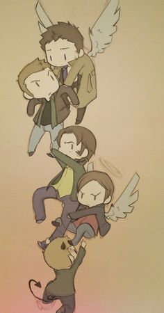 Cas: I got you :3  Dean: Who are you? And why are you so…hot?  Sam: Angel dude! Get us outta here!!  Gabriel: Luci, let go! Goddammit, get your own Winchester!  Lucifer: That is my point. Sammy is MINE, Gabey..