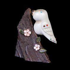 Zuni Elk Antler and Petrified Wood Bird Fetish by Ray Tsalate – Santa Fe Crafts