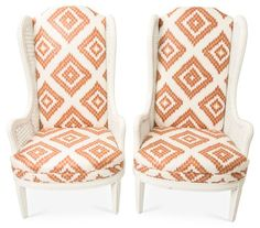 Upholstered Wingback Chairs, S/2