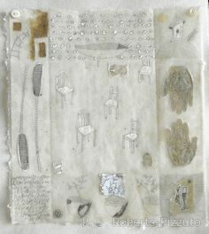 mixed media drawings dipped in beeswax on handmade paper