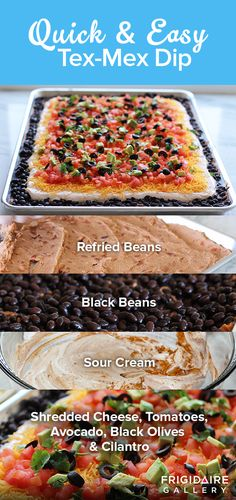 "Seven layers of beans, sour cream, cheese, tomatoes, olives, and cilantro are layered in this Tex Mex Dip from @happymoneysaver. This super easy recipe will have you and your family saying, ""Olé!""."