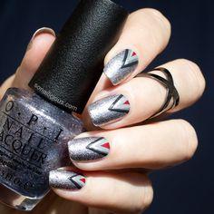 50 shades of grey nail art. Click through for tutorial. #nailart #50shadesofgrey