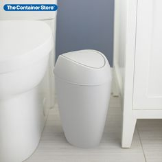 This slim swing-lid can has been created to add beauty and function even in small spaces. Its contoured, weighted lid swings smoothly then stays shut to hide trash. Durably construction and easy to clean, it stands up to everyday use in an office or guest bath. Reach In Closet, Small Space Organization, Back Photos, Container Store, Guest Bath, Minimal Design, Swings, Small Spaces, Construction