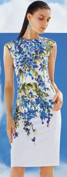 St. John Floral Print Sheath Dress
