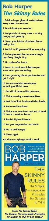 Skinny rules. Biggest eye opener: eat 30-50 grams of fiber each day!!! No carbs after lunch and go to bed hungry....