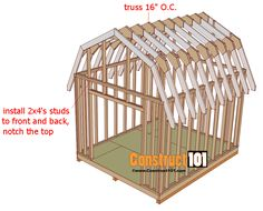 My Shed Plans - shed plans gambrel shed truss 16 inches on center - Now You Can Build ANY Shed In A Weekend Even If You've Zero Woodworking Experience! 10x10 Shed Plans, Lean To Shed Plans, Building A Shed Roof, Building Ideas, Diy Storage Shed Plans, Storage Sheds, Garage Storage, Barn Style Shed, Shed Construction