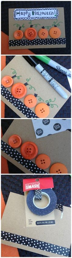 Cards made with button pumpkins. Great for a handmade Thanksgiving card.