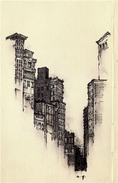 Architectural Sketches - Artist Sketches Each Lonely City He Moves To - Zachary Johnson screen and lino printing, used as a background illustration Art Sketches, Art Drawings, Sketches Of Buildings, Drawn Art, Illustration Art, Illustrations, Urban Sketching, Pen Art, Love Art