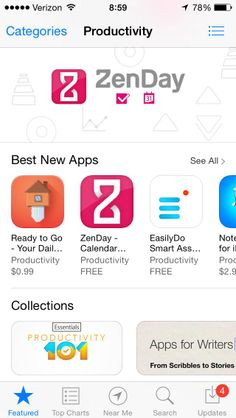 """ZenDay was featured on the App Store as """"Best New App"""" on launch day"""