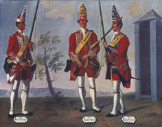 Grenadiers, 43rd, 44th and 45th Regiments of Foot, 1751   Royal Collection Trust
