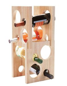 Oenophilia Astro Wine Rack In Natural Brown - The Oenophilia Astro Wine Rack is a piece of modern art for your countertop. Save space by vertically storing up to eight wine bottles in this simple, contemporary wine rack with natural wood finish. Wine Glass Rack, Wine Bottle Holders, Wine Bottles, Wine Rack Inspiration, Small Wine Racks, Contemporary Wine Racks, Wine Rack Design, Wine Stand, Natural Wood Finish