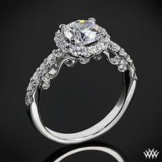 18k white gold Verragio half eternity halo diamond engagement ring. (Bride, wedding)