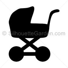 Baby carriage silhouette clip art. Download free versions of the image in EPS, JPG, PDF, PNG, and SVG formats at http://silhouettegarden.com/download/baby-carriage-silhouette/