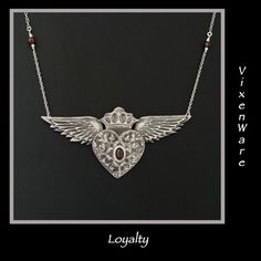 Loyalty Silver Winged Heart with Garnet Necklace