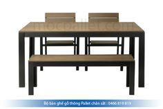 Bộ bàn ghế gỗ thông chân sắt BGS3