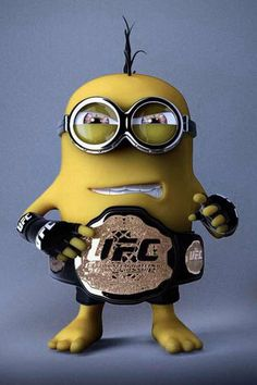 UFC Minion - Ok.I will NEVER understand the fascination with watching two grown men beat each other to a pulp but he likes UFC. Minion Rock, Minion S, Cute Minions, Minions Despicable Me, Girl Minion, Minion Wallpaper Iphone, Batman Minion, Minion Characters, Funny Minion Pictures