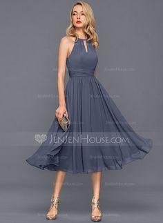 [AU$ 126.25] A-Line/Princess Scoop Neck Knee-Length Chiffon Cocktail Dress With Ruffle (016140368)