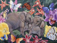 This painting of Elephants and Butterflies was done as an expression of family transformation. Prints available at my Etsy shop. Free domestic shipping!