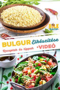 Bulgur elkészítése, receptek és videó #bulkshop #bulgur #recept #magyarul Grains, Rice, Recipes, Food, Bulgur, Essen, Meals, Ripped Recipes, Eten