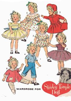 Vintage Doll Clothes PATTERN 8813 for 15 in Shirley Temple Judy Garland by Ideal