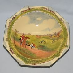 Royal Doulton Caldecott's A Hunting Family octagonal shape bowl D4720 - Royal Doulton Seriesware