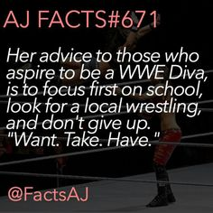 Shes the reason i wanna become a wwe diva. Thanks for this great advice aj. I will miss you :'( #Thankyouaj