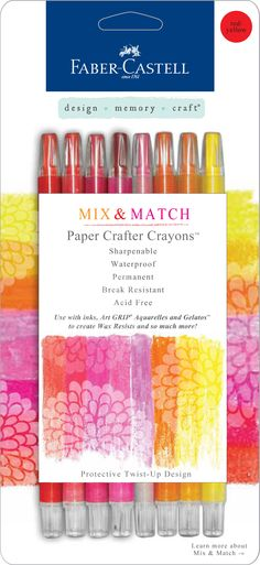 The NEW Paper Crafter Crayons:  RED/YELLOW.  Paper Crafter Crayons™ are highly-pigmented wax crayons that can be used on all types of crafting surfaces like cardstock, chipboard, canvas, embossed and textured paper, even wood, glass and ceramic.