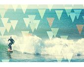 Geometric art surf print boho beach decor pastels pink yellow - Surf's up (small). $35.00, via Etsy.