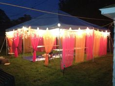 party tents at night