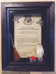 DIY HARRY POTTER GIFT - Shadow Box Hogwarts Letter.    Materials: Parchment paper, miniature toy owl, dollhouse books & broom, key & leaves jewelry charms, hot glue, and 4 sewing pins (All available @ Michael's or Hobby Lobby Craft supply).   Customizable Hogwarts Letter Template: http://www.seanlockephotography.com/2013/07/18/youve-been-accepted-to-hogwarts/