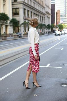 Floral Midi Skirt and Lace-up Blouse - MEMORANDUM, formerly The Classy CubicleMEMORANDUM, formerly The Classy Cubicle
