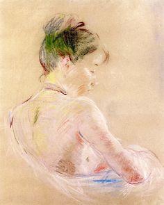 (France) Girl with bare shoulders by Berthe Morisot Impressionist. Manet, Georges Seurat, Renoir, French Impressionist Painters, Berthe Morisot, Mary Cassatt, Buy Art Online, A4 Poster, Vintage Artwork