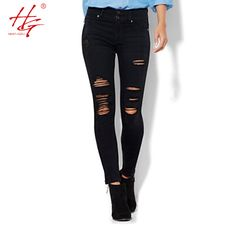 C14 2016 spring black ripped jeans women holes in knees tight denim pants femme high-waisted jeans destroyed trousers female