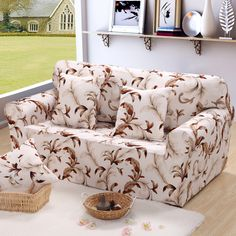 Three four single double seater full sofa cover flower universal