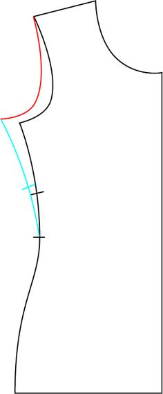 FBA for knits--trace around most of the pattern - the shoulder, neckline, CF, hem and side seam up to the waistline. Pivot the side seam at the armscye out to add width, pivoting around the shoulder point (red), then pivot around the new underarm point to bring the waist back into the original measurements (blue). Note here that you need to do a significantly smaller width adjustment in a knit!