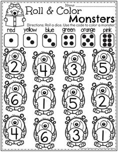 Monster Theme Preschool Monster Worksheets - Roll and Color Monster Activities, Toddler Learning Activities, Play Based Learning, Kids Learning, Preschool Printables, Preschool Worksheets, Kindergarten Activities, Preschool Activities, Preschool Journals