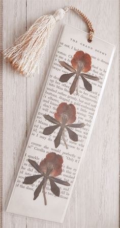 Vintage Book Page & Pressed Flower Bookmark