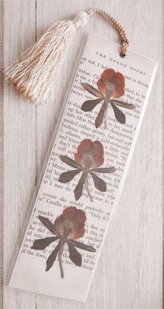 Vintage Book Page & Pressed Flower Bookmark