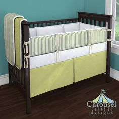 Crib bedding in Solid Antique White, Sage Stripe, Natural Organic, White Pimatex, Light Lime Minky. Created using the Nursery Designer® by Carousel Designs where you mix and match from hundreds of fabrics to create your own unique baby bedding. #carouseldesigns