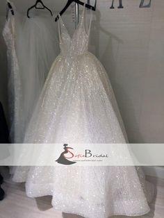 V-neck Sequin Tulle Sparkle Long A-line Prom Dresses, Lovely Wedding Dresses, Formal Dresses, PD0472