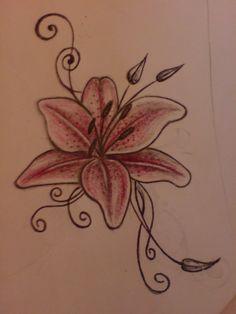 Wonderful Lily Tattoo Design