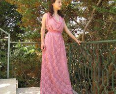 maxi dress long lace chiffon dress soft pink rose by Youshky, $105.00