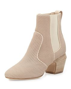 Perforated Leather Ankle Boot, Nude by Fendi at Neiman Marcus.