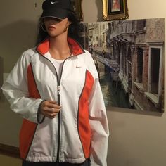 ✅✅NIKE JOGGING SUIT AUTHENTIC NIKE SUIT.  Excellent condition.  Bright Orange, white and gray.  Fully lined jacket and pants.  Elastic and drawstring waist.  IT'S NIKE✅✅✅ Nike Other